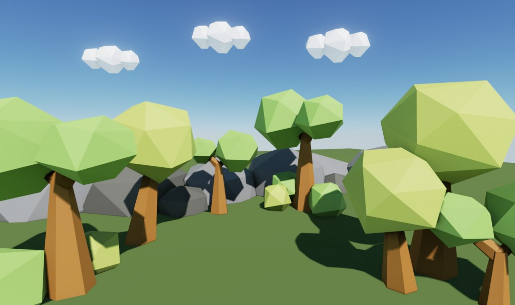 Low Poly Tree Scene