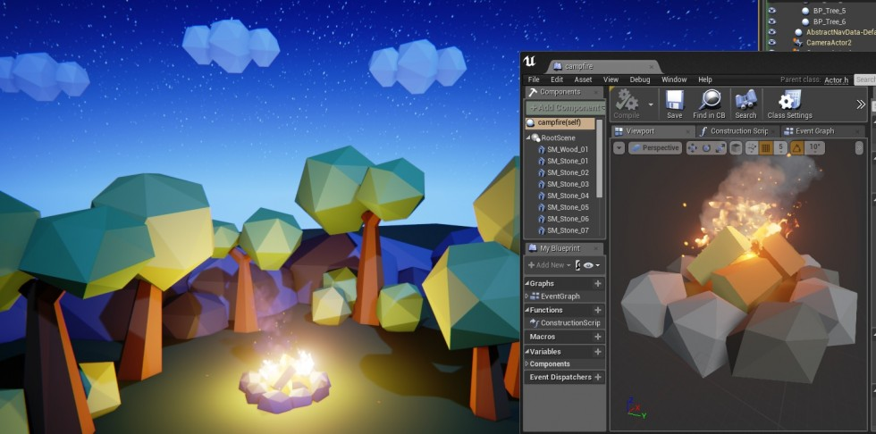 Low Poly Nighttime Setting with campfire